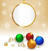 Christmas balls with streamers and frame on beige - stock illustration