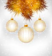Christmas balls and pine on grayscale - stock illustration