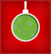 Christmas ball cutout on red - stock illustration