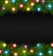 Christmas lights on pine on black Stock Illustration