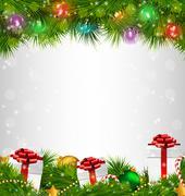 Shiny Christmas tree with gift boxes and led Christmas lights li - stock illustration