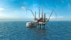Drilling offshore platform and tanker Stock Footage