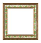 Brown frame with holly isolated on white - stock illustration