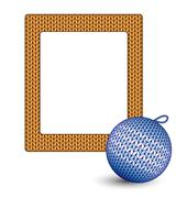 Knitted Christmas ball and frame on white - stock illustration