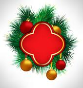 Red Frame on pine branches with Christmas balls - stock illustration