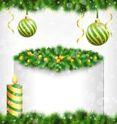 Candle with holly, pine, Christmas balls and frame on grayscale Stock Illustration