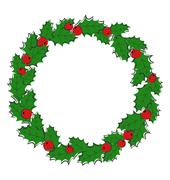 Flat Christmas wreath with holly sprigs isolated on white - stock illustration