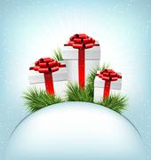 Three grayscale gift boxes with red bows, pine branches and blan Stock Illustration