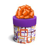 Colorful Violet and Orange Celebration Gift Box with Bow Isolate Stock Illustration