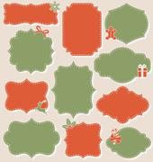 Set of Christmas Vintage Labels Frames Collection Isolated on Be - stock illustration