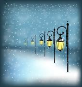 Lanterns stand in snowfall on blue Stock Illustration