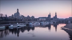 4k Timelapse, panoramic view embankment of Elbe river, Dresden, Germany Stock Footage