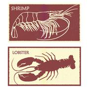 Seafood. Set lobster and shrimp Stock Illustration