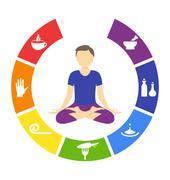 Yoga lifestyle circle with man isolated on white Stock Illustration