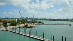 Miami scene from the Macarthur Bridge Stock Footage