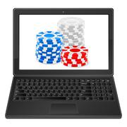 laptop and chips stack - stock illustration