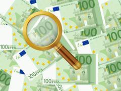 magnifier on one hundred euro background - stock illustration