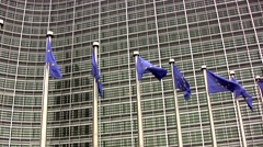Stock Video Footage of European flags outside the EU commision in Brussels, Belgium