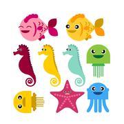 colorful seahorse fish jellyfish starfish - stock illustration
