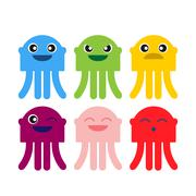 color cute jellyfish smiling icon set - stock illustration
