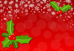 Christmas background with holly Stock Illustration