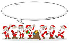 group of santa clauses wishes merry christmas - stock illustration