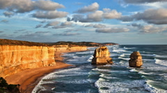 The iconic twelve apostles in Victoria, Australia at sunset. Stock Footage