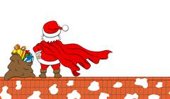 Santa claus hero at work on a roof Stock Illustration