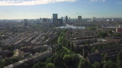 Aerials Rotterdam Central Station + City Center in the Morning Stock Footage