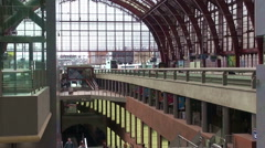 People Arrive At Antwerpen Train Station Stock Footage