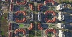 Large modern middle class residential area (Aerial, 4K) Stock Footage