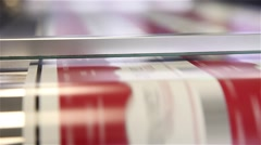 Working printing press doing labels Stock Footage