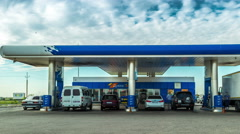 4K Timelapse.  Many Cars refuel at the gas station Gazpromneft Stock Footage
