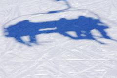 Ski lift shadow on the snow Stock Photos