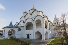 Cathedral at St. Pokrovsky Monastery was built in  a 16th century in Suzdal . - stock photo