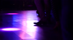 Salsa people dance legs shoes high heels silhouettes spinning on dancefloor Stock Footage