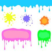 Set of Colorful Blots - stock illustration