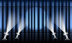 Theater stage with blue curtain and spotlights. Stock Illustration