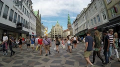 COPENHAGEN, DENMARK: Amagertorv square at the city center Stock Footage