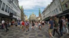 COPENHAGEN, DENMARK: Amagertorv square at the city center Stock Footage