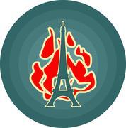 Eiffel tower in Paris. Outline silhouette. Gradient radiant backdrop Stock Illustration