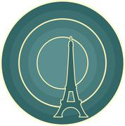 Stock Illustration of Eiffel tower in Paris. Outline silhouette. Gradient radiant backdrop