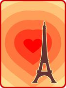 Eiffel tower in Paris. Outline silhouette. Gradient radiant backdrop Stock Illustration