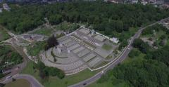 Aerial filming of Lychakiv Military Cemetery of Polish soldiers in Lviv city Stock Footage