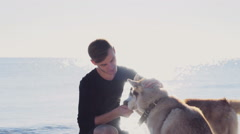 happy male and two husky dogs in the sun light on the beach slow motion - stock footage