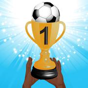 football trophy with hands and starburst - stock illustration