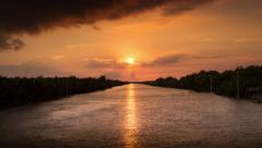 Time lapse Sunset of river side at Thailand Stock Footage