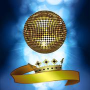 Disco ball with banner and crown - stock illustration
