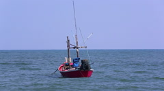 Fishing boat ready to fishing in the gulf of Thailand, Thailand Stock Footage