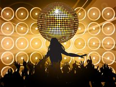 Disco ball with wall speakers and shilouette Stock Illustration